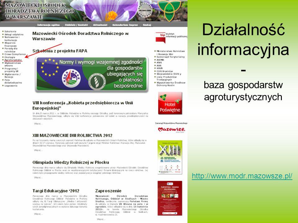 Działalność informacyjna - baza gospodarstw agroturystycznych