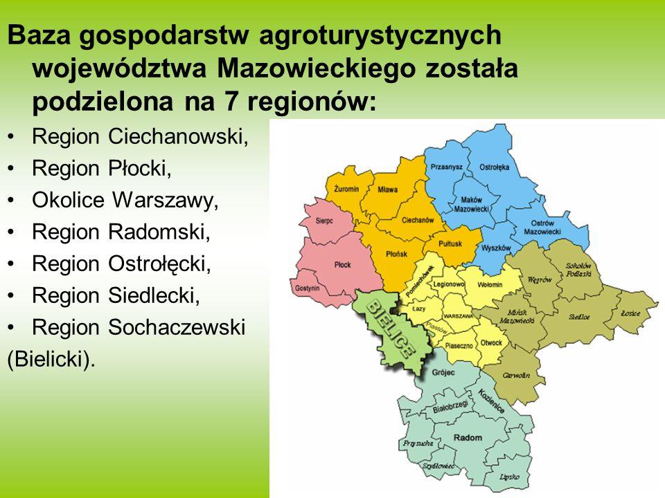 Baza gospodarstw agroturystycznych województwa Mazowieckiego została podzielona na 7 regionów: