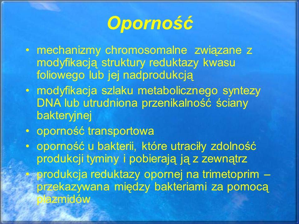 Oporność mechanizmy chromosomalne związane z modyfikacją struktury reduktazy kwasu foliowego lub jej nadprodukcją.
