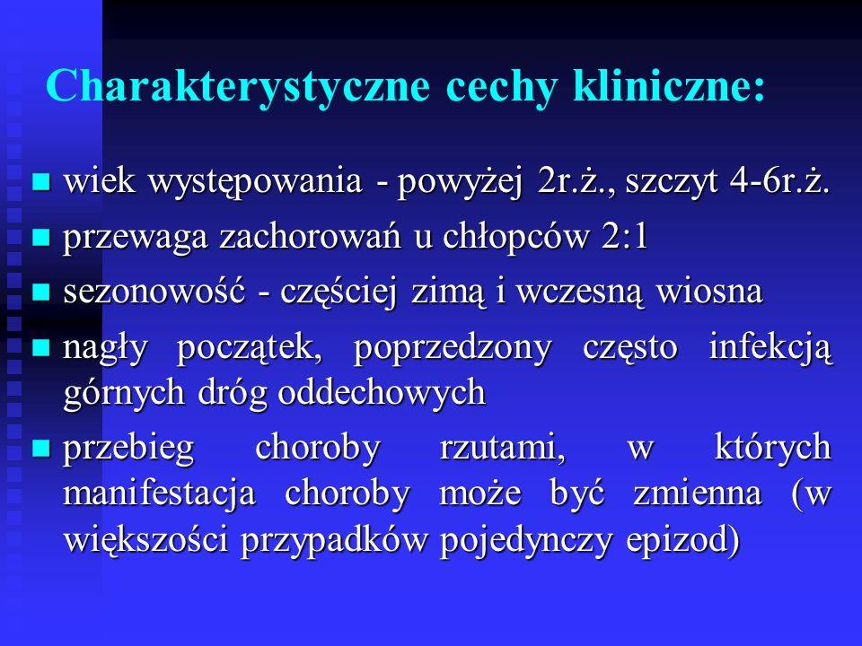 Charakterystyczne cechy kliniczne: