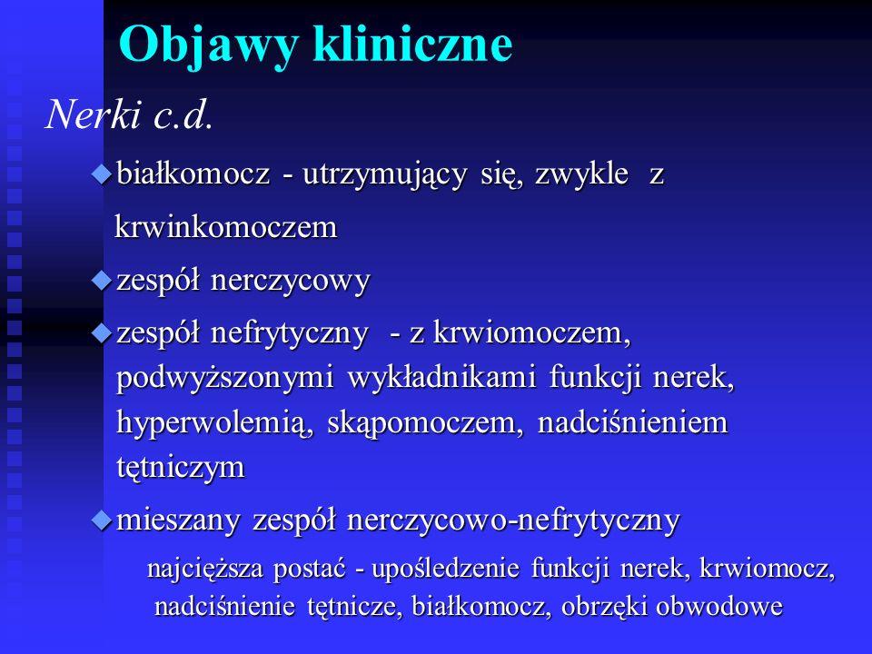 Objawy kliniczne Nerki c.d. białkomocz - utrzymujący się, zwykle z
