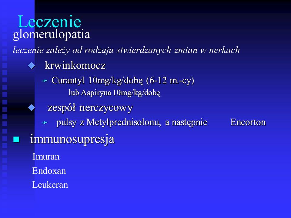 Leczenie glomerulopatia immunosupresja krwinkomocz zespół nerczycowy