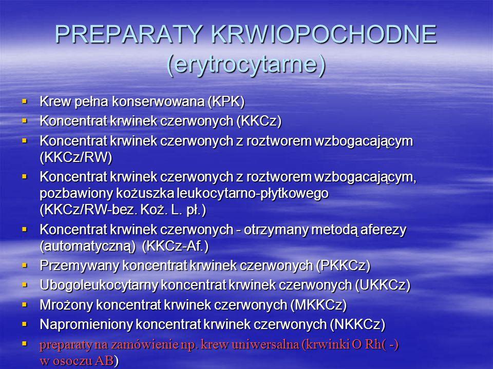 PREPARATY KRWIOPOCHODNE (erytrocytarne)