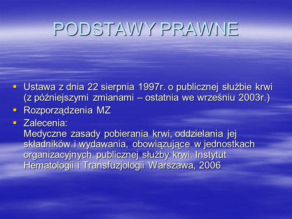 PODSTAWY PRAWNE Ustawa z dnia 22 sierpnia 1997r. o publicznej służbie krwi (z późniejszymi zmianami – ostatnia we wrześniu 2003r.)