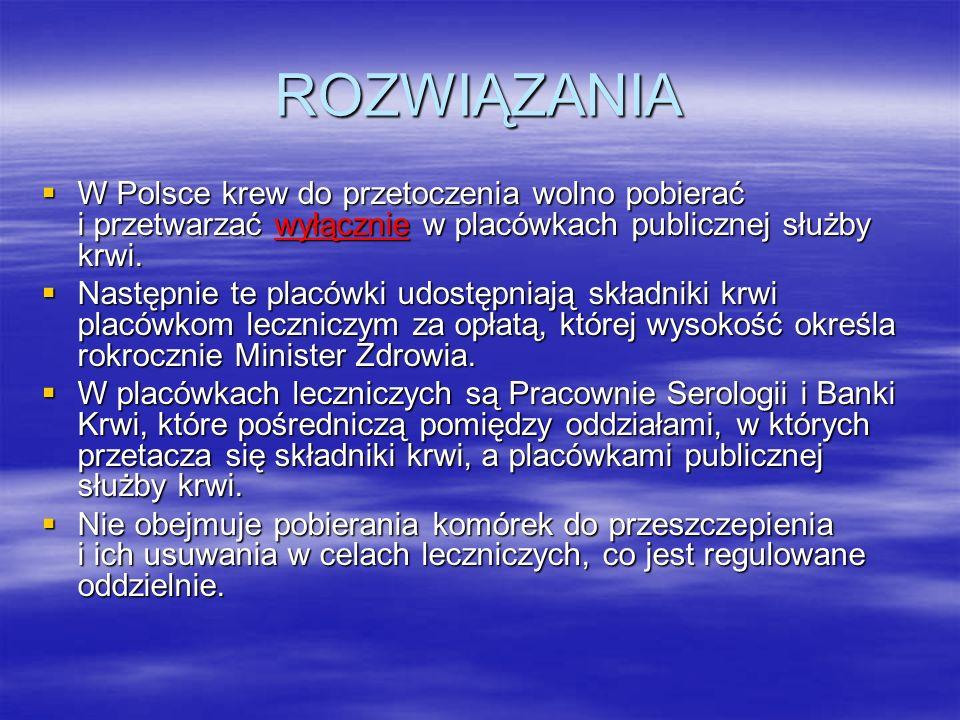 ROZWIĄZANIA W Polsce krew do przetoczenia wolno pobierać i przetwarzać wyłącznie w placówkach publicznej służby krwi.