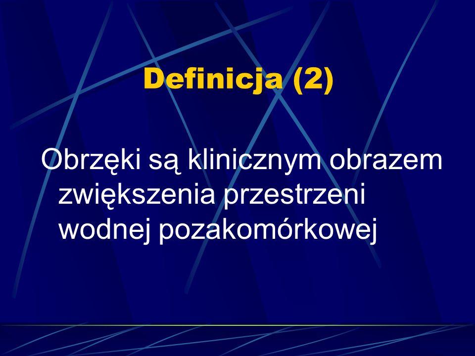 Definicja (2) Obrzęki są klinicznym obrazem zwiększenia przestrzeni wodnej pozakomórkowej