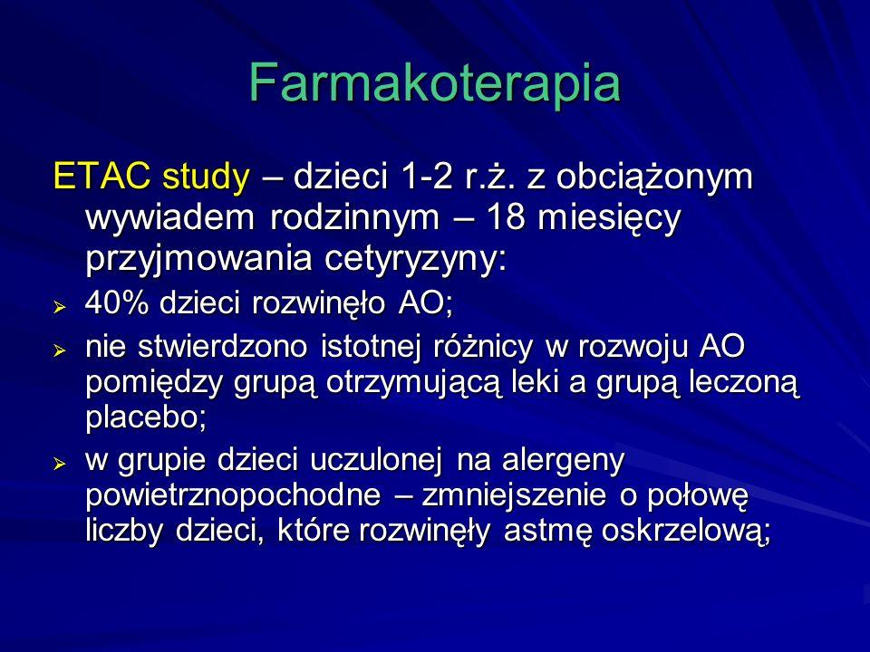 Farmakoterapia ETAC study – dzieci 1-2 r.ż. z obciążonym wywiadem rodzinnym – 18 miesięcy przyjmowania cetyryzyny: