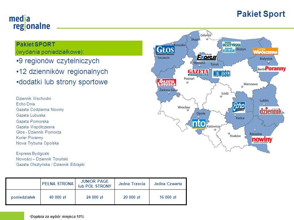 Pakiet Sport 9 regionów czytelniczych 12 dzienników regionalnych