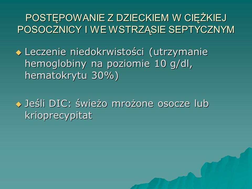 Jeśli DIC: świeżo mrożone osocze lub krioprecypitat