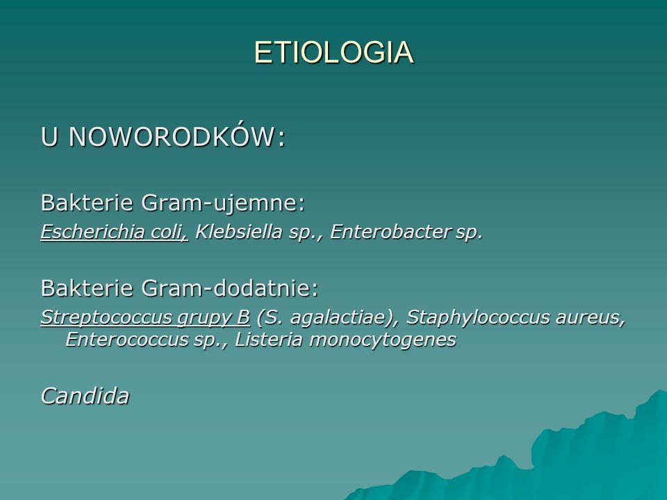 ETIOLOGIA U NOWORODKÓW: Bakterie Gram-ujemne: Bakterie Gram-dodatnie: