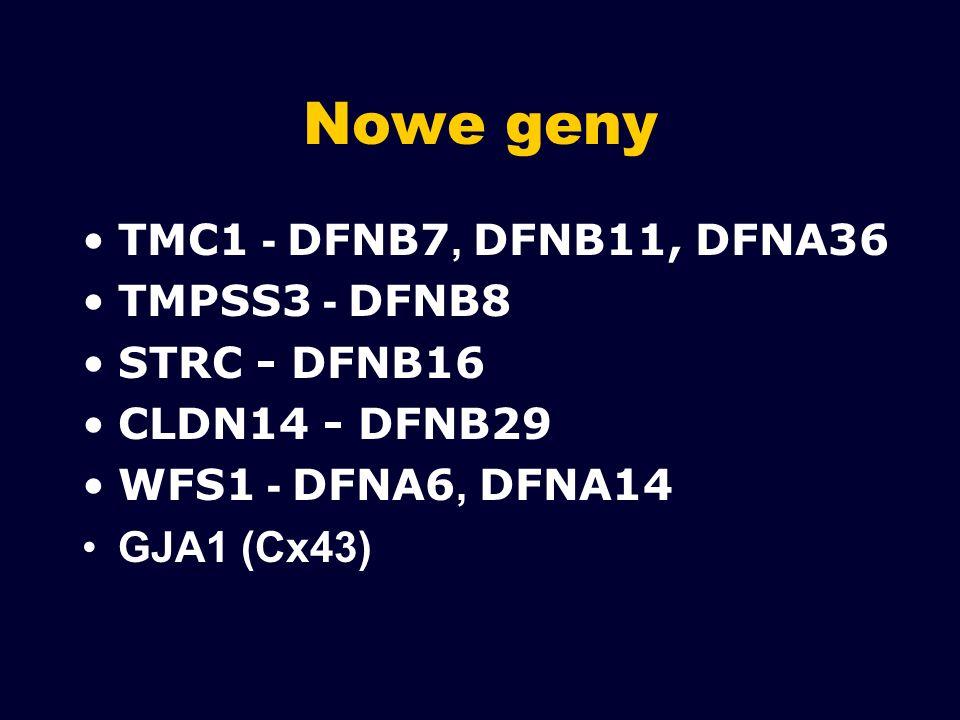 Nowe geny TMC1 - DFNB7, DFNB11, DFNA36 TMPSS3 - DFNB8 STRC - DFNB16