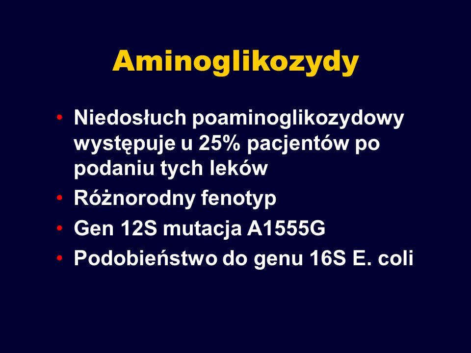 Aminoglikozydy Niedosłuch poaminoglikozydowy występuje u 25% pacjentów po podaniu tych leków. Różnorodny fenotyp.