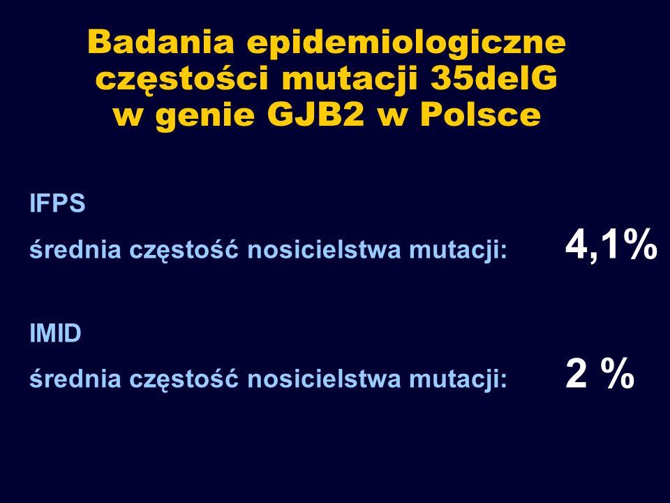 Badania epidemiologiczne częstości mutacji 35delG w genie GJB2 w Polsce