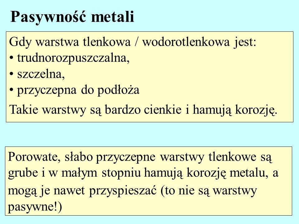 Pasywność metali Gdy warstwa tlenkowa / wodorotlenkowa jest: