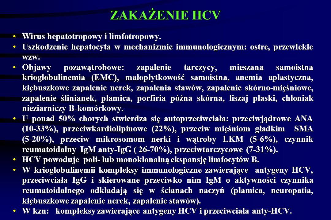ZAKAŻENIE HCV Wirus hepatotropowy i limfotropowy.
