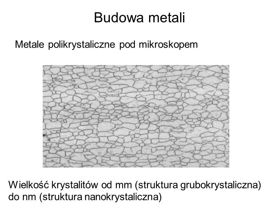 Budowa metali Metale polikrystaliczne pod mikroskopem