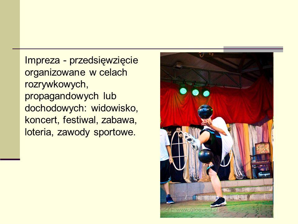 Impreza - przedsięwzięcie organizowane w celach rozrywkowych, propagandowych lub dochodowych: widowisko, koncert, festiwal, zabawa, loteria, zawody sportowe.