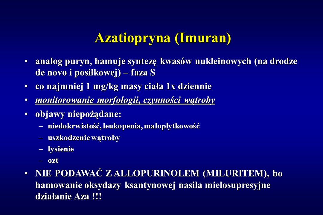 Azatiopryna (Imuran) analog puryn, hamuje syntezę kwasów nukleinowych (na drodze de novo i posiłkowej) – faza S.