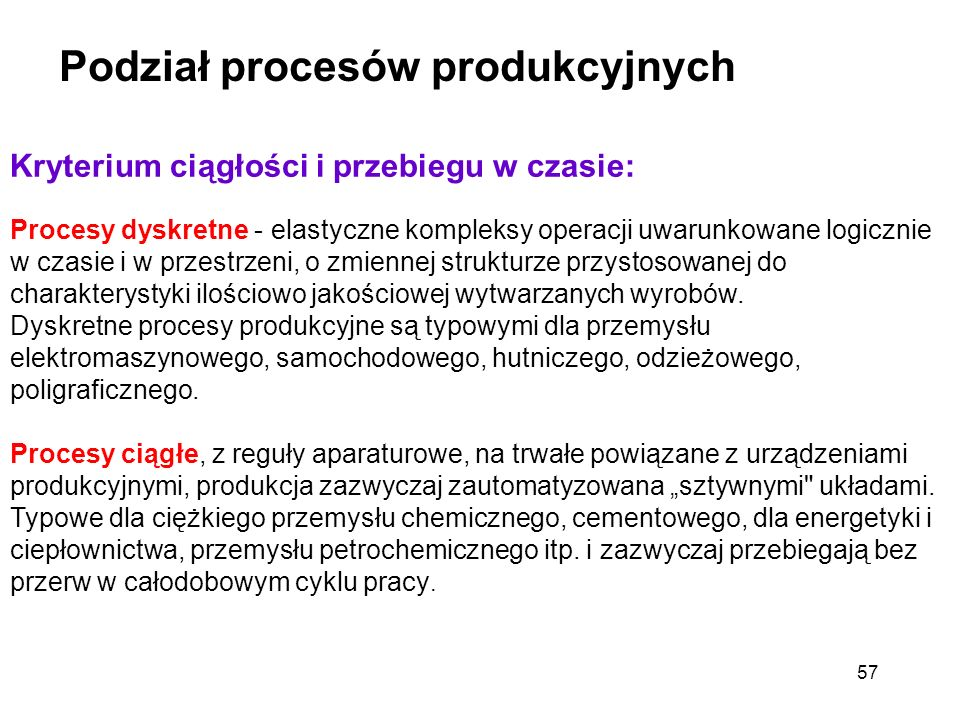 Podział procesów produkcyjnych