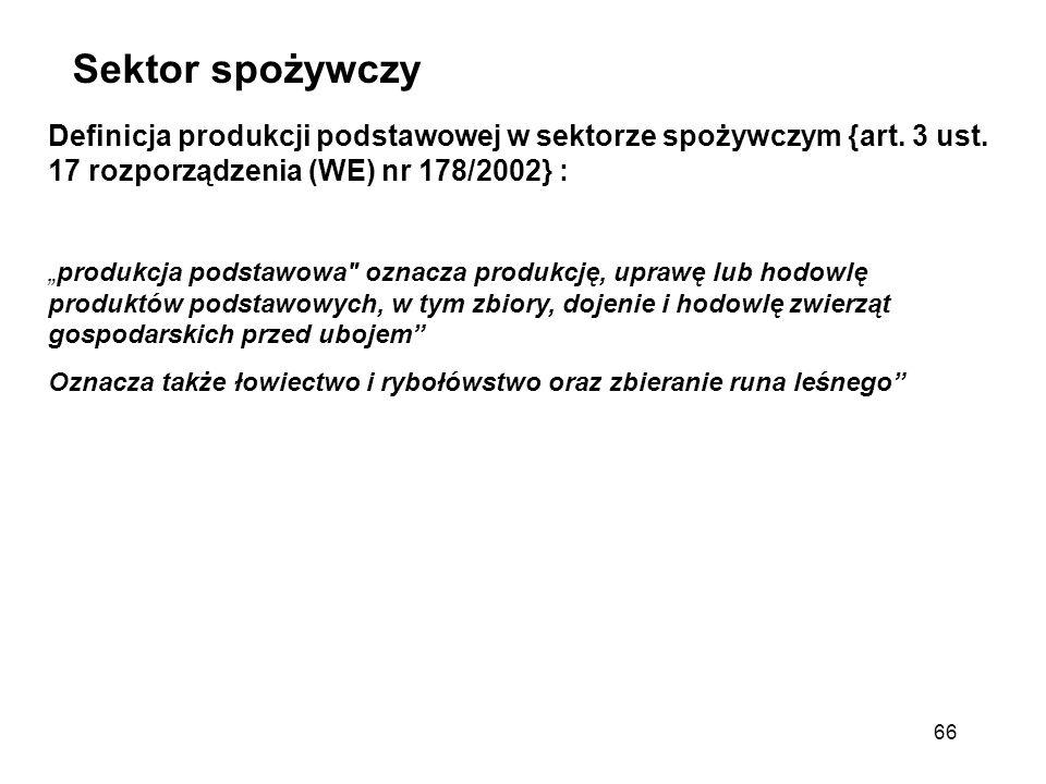 Sektor spożywczy Definicja produkcji podstawowej w sektorze spożywczym {art. 3 ust. 17 rozporządzenia (WE) nr 178/2002} :