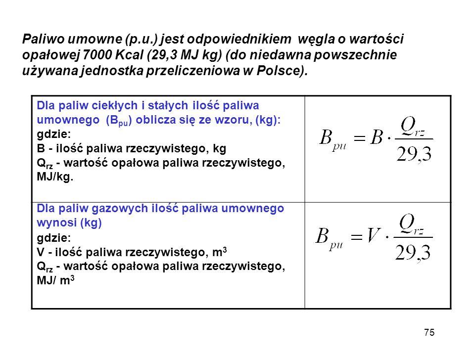 Paliwo umowne (p.u.) jest odpowiednikiem węgla o wartości opałowej 7000 Kcal (29,3 MJ kg) (do niedawna powszechnie używana jednostka przeliczeniowa w Polsce).