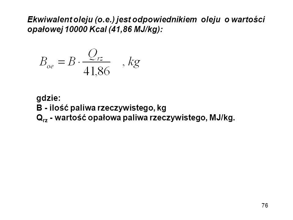 Ekwiwalent oleju (o.e.) jest odpowiednikiem oleju o wartości opałowej 10000 Kcal (41,86 MJ/kg):