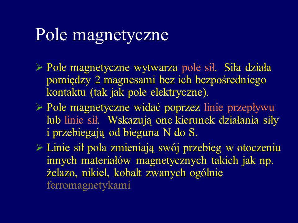 Pole magnetyczne Pole magnetyczne wytwarza pole sił. Siła działa pomiędzy 2 magnesami bez ich bezpośredniego kontaktu (tak jak pole elektryczne).