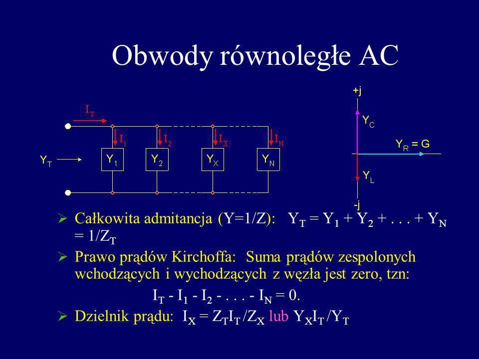 Obwody równoległe AC Całkowita admitancja (Y=1/Z): YT = Y1 + Y2 + . . . + YN = 1/ZT.