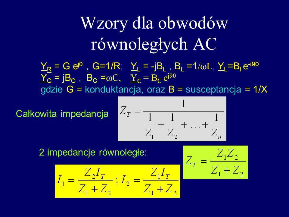 Wzory dla obwodów równoległych AC