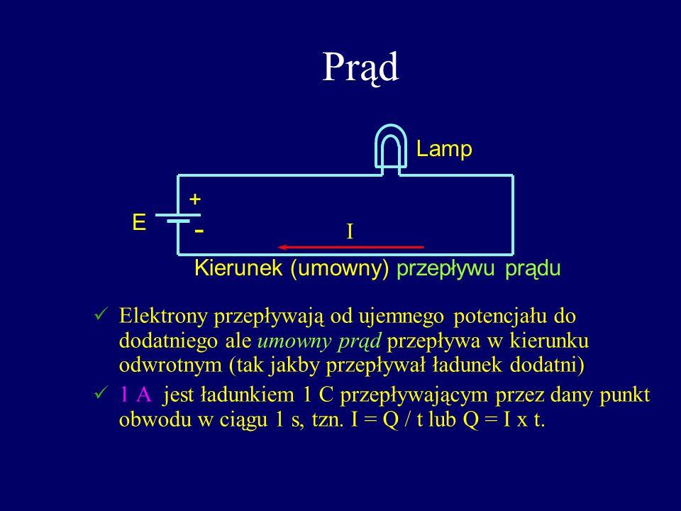 Prąd - Lamp + E I Kierunek (umowny) przepływu prądu