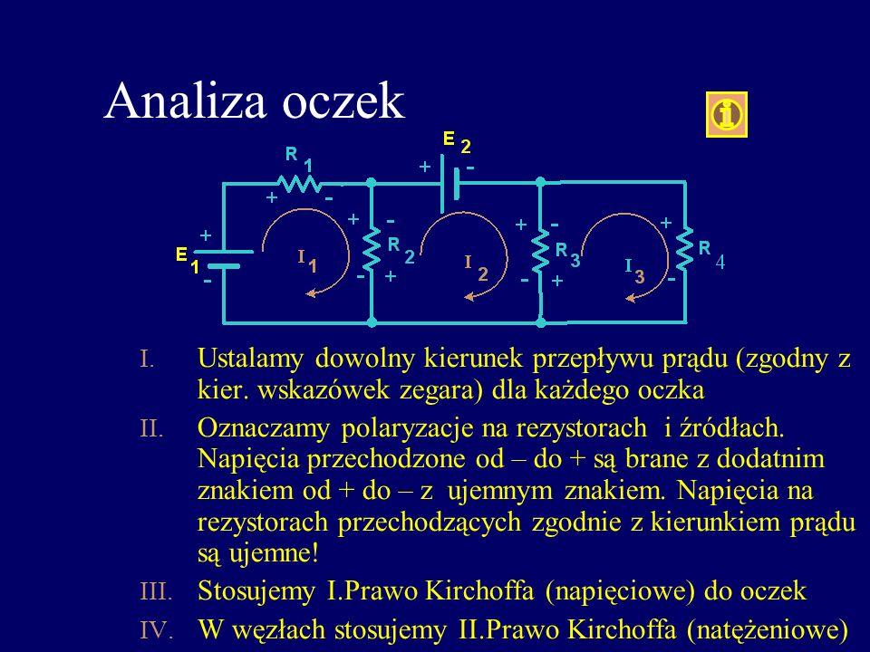 Analiza oczek Ustalamy dowolny kierunek przepływu prądu (zgodny z kier. wskazówek zegara) dla każdego oczka.