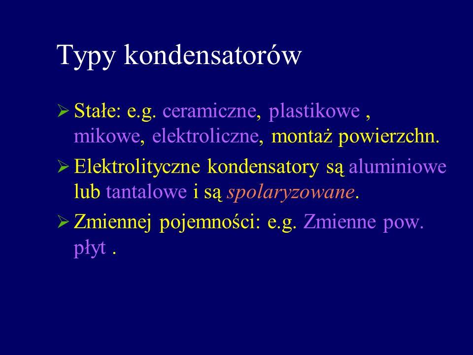 Typy kondensatorów Stałe: e.g. ceramiczne, plastikowe , mikowe, elektroliczne, montaż powierzchn.