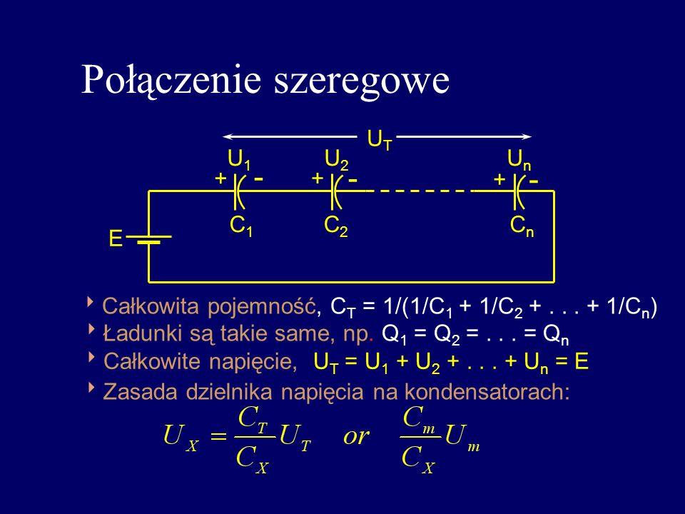 Połączenie szeregowe - - - UT U1 U2 Un + + + C1 C2 Cn E