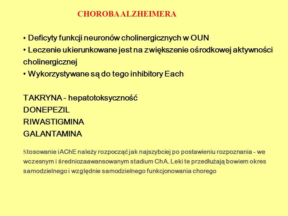 Deficyty funkcji neuronów cholinergicznych w OUN