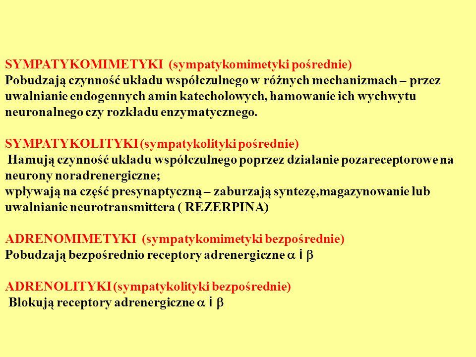 SYMPATYKOMIMETYKI (sympatykomimetyki pośrednie)
