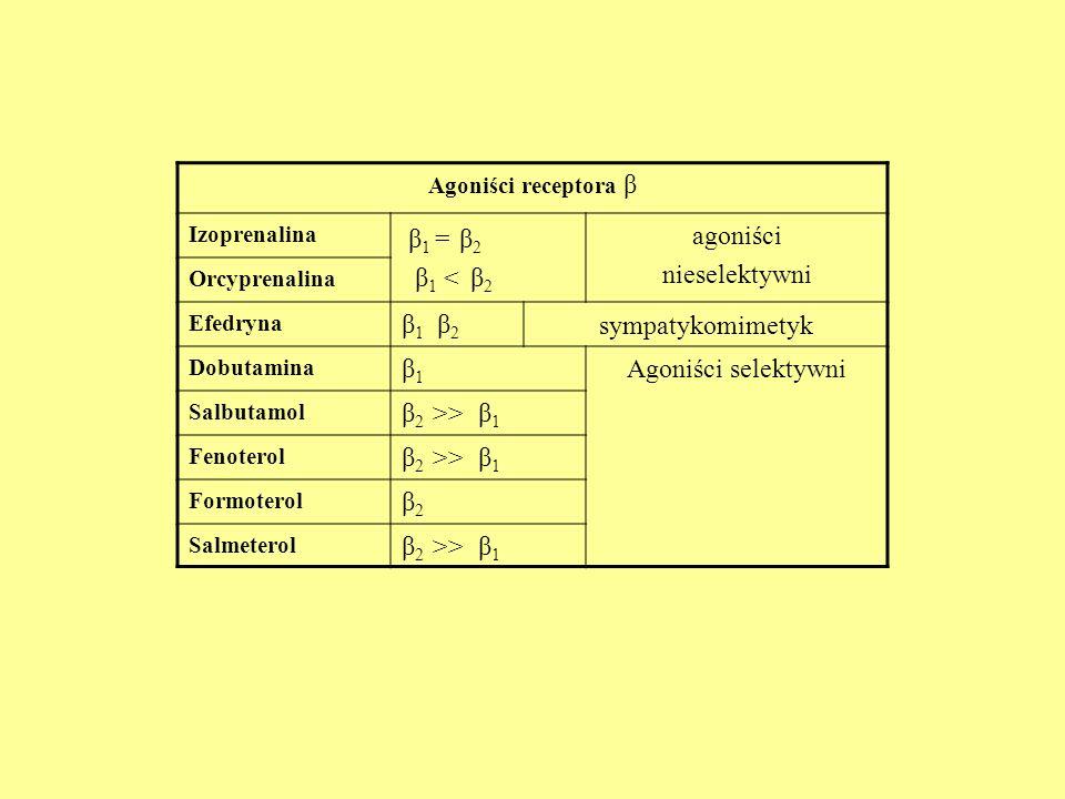 β1 = β2 β1 < β2 agoniści nieselektywni β1 β2 sympatykomimetyk β1