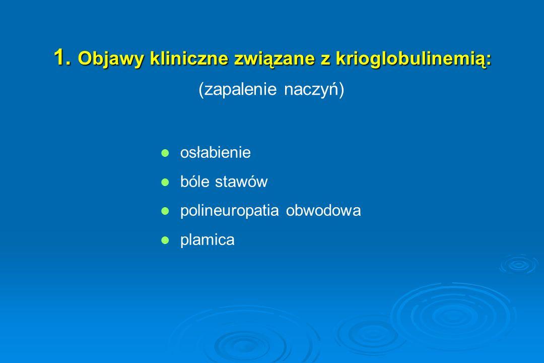 1. Objawy kliniczne związane z krioglobulinemią: