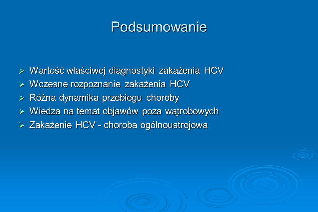Podsumowanie Wartość właściwej diagnostyki zakażenia HCV