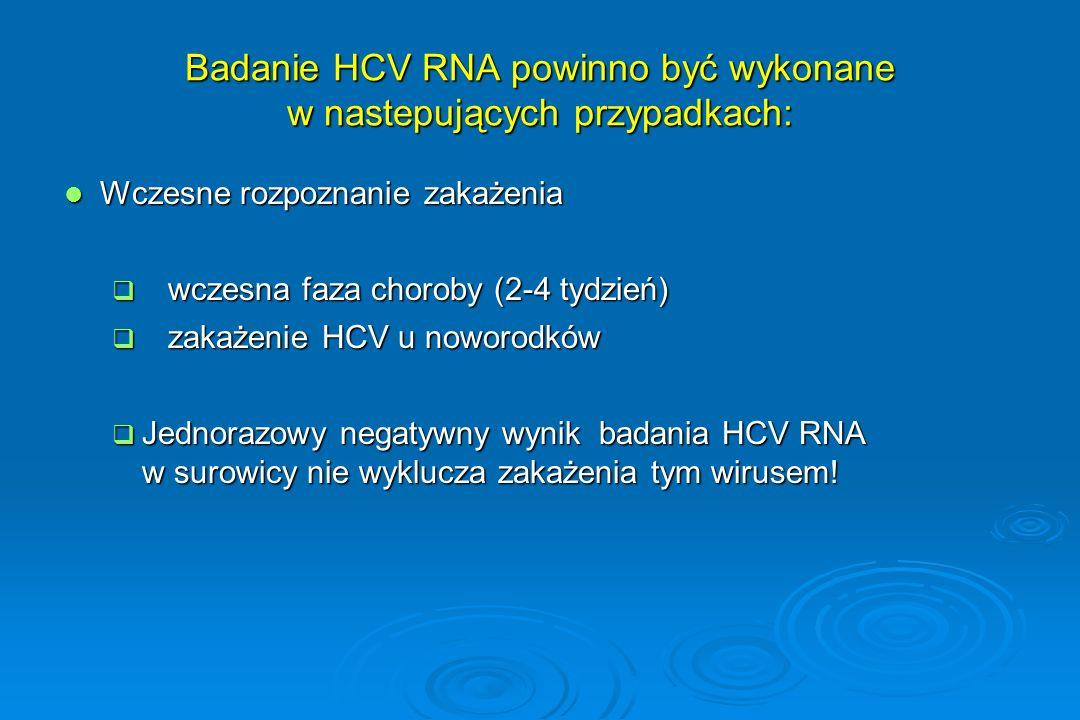 Badanie HCV RNA powinno być wykonane w nastepujących przypadkach: