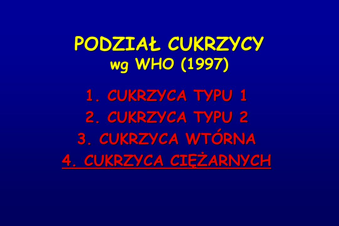 PODZIAŁ CUKRZYCY wg WHO (1997)