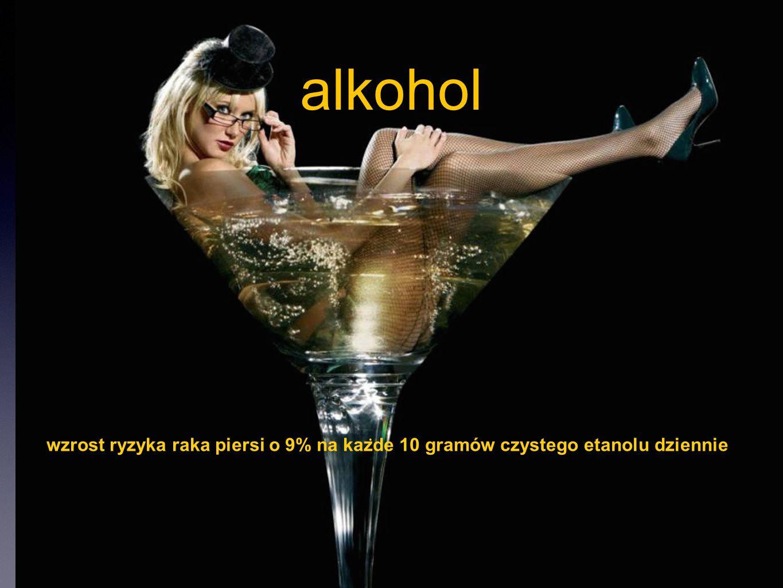 alkohol wzrost ryzyka raka piersi o 9% na każde 10 gramów czystego etanolu dziennie