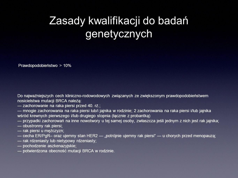 Zasady kwalifikacji do badań genetycznych