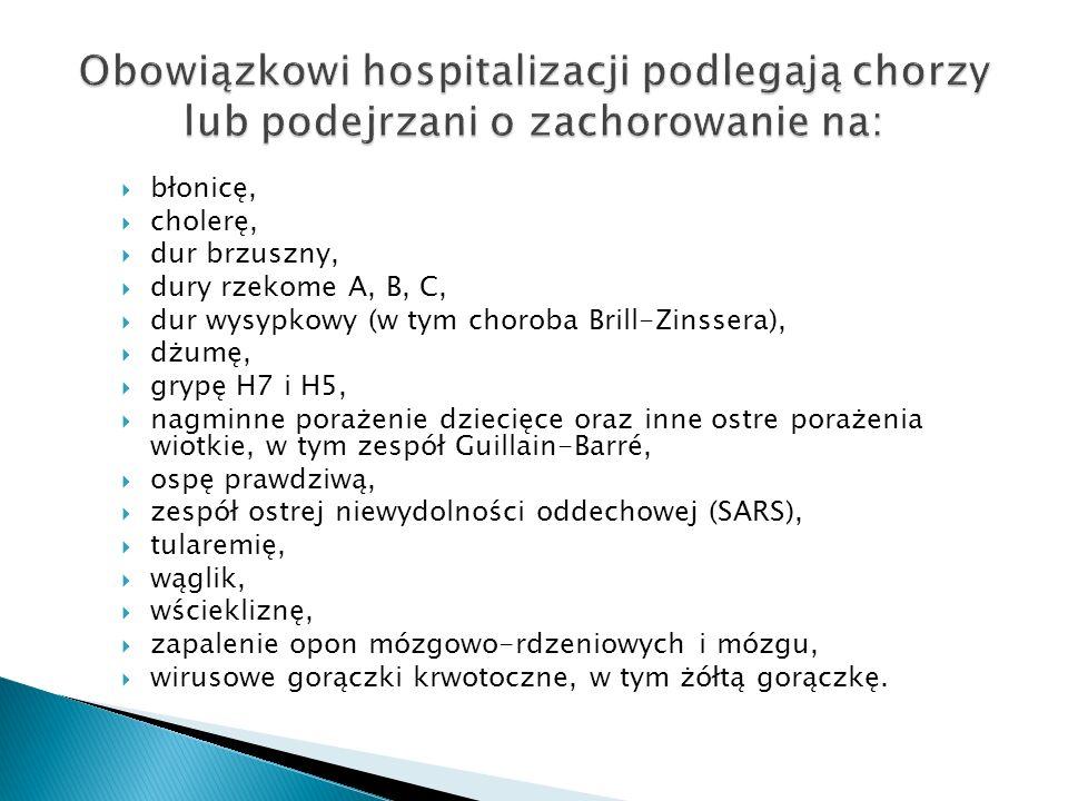 Obowiązkowi hospitalizacji podlegają chorzy lub podejrzani o zachorowanie na: