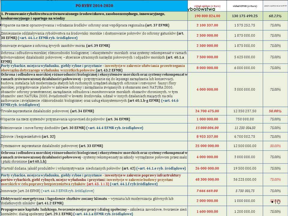 poziom współfinansowania EFMR