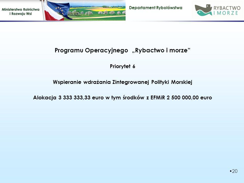 "Programu Operacyjnego ""Rybactwo i morze"