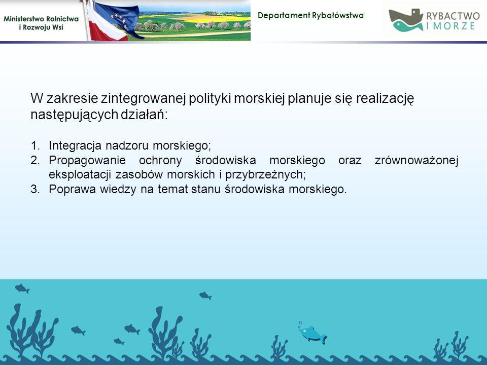 W zakresie zintegrowanej polityki morskiej planuje się realizację następujących działań: