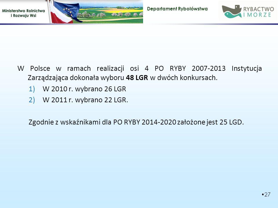 W Polsce w ramach realizacji osi 4 PO RYBY 2007-2013 Instytucja Zarządzająca dokonała wyboru 48 LGR w dwóch konkursach.