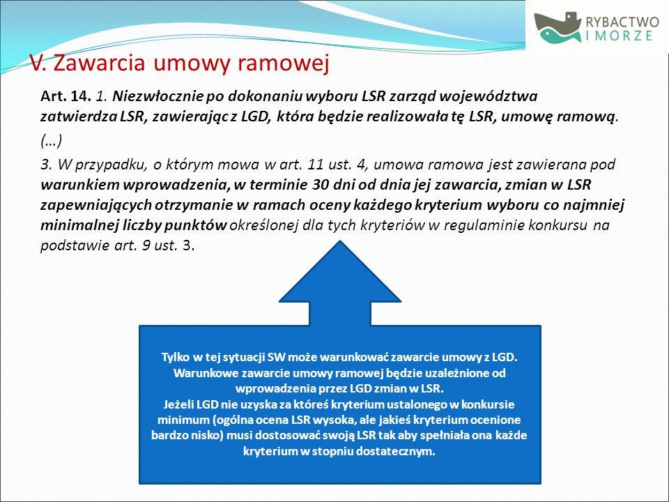 V. Zawarcia umowy ramowej