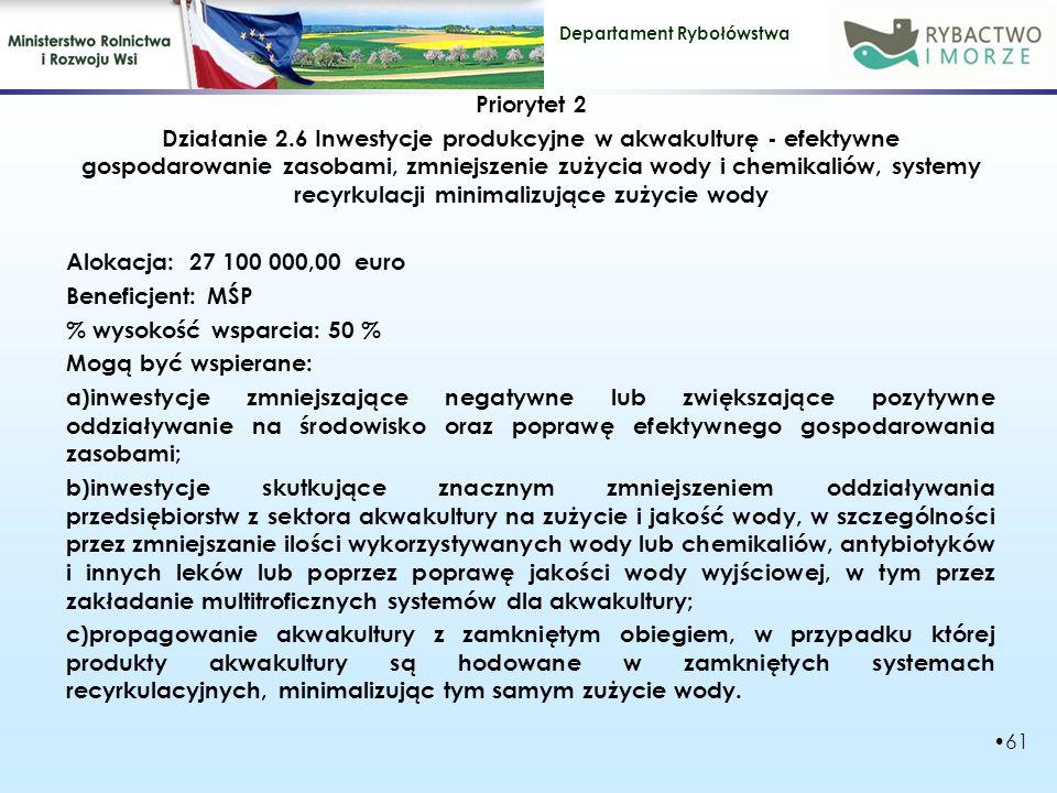 Priorytet 2 Działanie 2.6 Inwestycje produkcyjne w akwakulturę - efektywne gospodarowanie zasobami, zmniejszenie zużycia wody i chemikaliów, systemy recyrkulacji minimalizujące zużycie wody Alokacja: 27 100 000,00 euro Beneficjent: MŚP % wysokość wsparcia: 50 % Mogą być wspierane: a)inwestycje zmniejszające negatywne lub zwiększające pozytywne oddziaływanie na środowisko oraz poprawę efektywnego gospodarowania zasobami; b)inwestycje skutkujące znacznym zmniejszeniem oddziaływania przedsiębiorstw z sektora akwakultury na zużycie i jakość wody, w szczególności przez zmniejszanie ilości wykorzystywanych wody lub chemikaliów, antybiotyków i innych leków lub poprzez poprawę jakości wody wyjściowej, w tym przez zakładanie multitroficznych systemów dla akwakultury; c)propagowanie akwakultury z zamkniętym obiegiem, w przypadku której produkty akwakultury są hodowane w zamkniętych systemach recyrkulacyjnych, minimalizując tym samym zużycie wody.