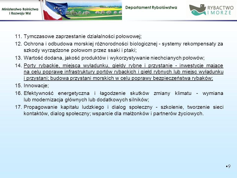 Tymczasowe zaprzestanie działalności połowowej;